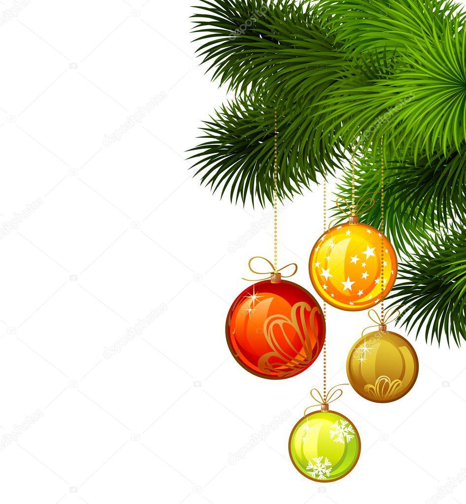 weihnachten zweig der tanne mit farbigen abend kugeln auf dem wei en hintergrund stockvektor. Black Bedroom Furniture Sets. Home Design Ideas