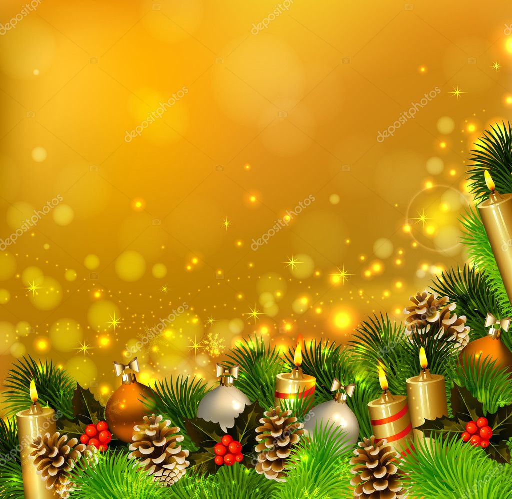 Christmas background with burning candles , fir tree and Christmas bauble    #11919693