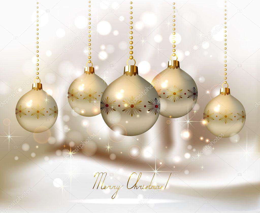 Fondo de navidad con bolas de noche iluminado elegante - Tarjetas de navidad elegantes ...