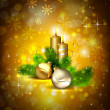Stock Vector: Brown Christmas background with burning candles and Christmas bauble