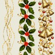 Set of three Christmas seamless ornament with garland , holly and festive bells - Stock Vector
