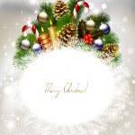 yanan mumlar ve Noel biblo ile çam ağacı dalı ile Noel arka plan — Stok Vektör