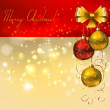 Christmas background with red and gold evening balls — Stock Vector #11920509