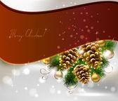 Fondo de navidad con abeto, conos y pelotas de noche — Vector de stock