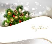 Weihnachten hintergrund mit tanne, zapfen und abend-bälle — Stockvektor