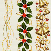 Set of three Christmas seamless ornament with garland , holly and festive bells — Stock Vector