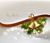 モミの木、鐘夜のボールとクリスマスの背景 — ストックベクタ