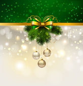 Christmas background with evening balls and fir tree — ストックベクタ