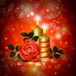 Royalty-Free Stock Vector Image: Greeting-card with rose and candles of The Valentine's day