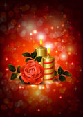 Greeting-card with rose and candles of The Valentine's day — Stock Vector
