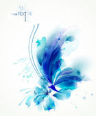 Abstract butterfly with blue on a flower — Stock Vector