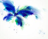 Abstrakte schmetterling mit cyan und blauen flecken — Stockvektor