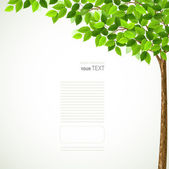 сезон дерево с зелеными листьями — Cтоковый вектор