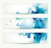 Ensemble de trois bannières, headers abstraits avec des taches bleues — Vecteur