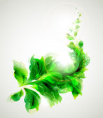 Green branch with abstract leaves — Stock vektor