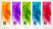 Set of five banners, abstract headers — Stock Vector