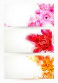 üç afiş, çiçek ve sanatsal lekesi ile soyut üstbilgi kümesi — Stok Vektör