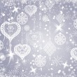 Christmas evening baubles on gray background - Stockvectorbeeld