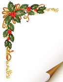 Christmas holly branch in the corner — Stock Vector