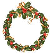 Circle of the christmas holly branch — Stockvektor