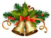 Decoración de la navidad con árboles de hoja perenne y campanas — Vector de stock