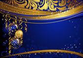 Blanka glas boll på den blå jul bakgrunden — Stockvektor