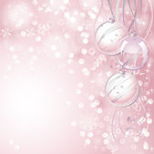 Pink Christmas backdrop with three balls — Stock Vector