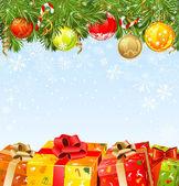 čtyři vánoční dárky pod stromeček jedle — Stock vektor