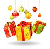Three jumping bright Christmas gifts — Stock Vector