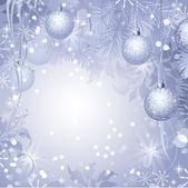 圣诞节晚上球挂杉木树 — 图库矢量图片