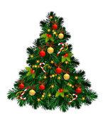 Kerstboom met ballen, sterren, snoepjes — Stockvector