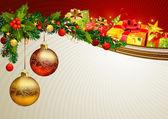 Jul bakgrund med en gren av evergreen och gåvor — Stockvektor