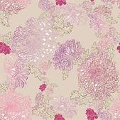 Seamless ornament of tender chrysanthemums — Stock Vector