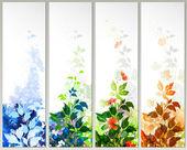 Raster version d'ensemble de quatre bannières de saison — Vecteur