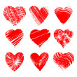 Set of nine artistic hearts — Stock Vector #11950718