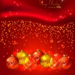 Stock Vector: Red background with Christmas balls
