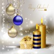 Light Christmas background with burning candles and Christmas gift - Stock Vector