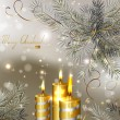 图库矢量图片: Light Christmas background with burning candles and fir-tree