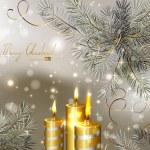 燃焼ろうそくやモミの木とクリスマスの背景を光します。 — ストックベクタ