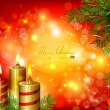 Vector de stock : Red Christmas background with burning candles and fir-tree