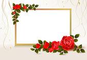 心と赤いバラでベージュ色の背景 — ストックベクタ