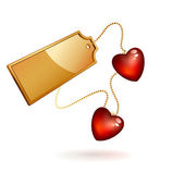 Two red hearts with gold label — Vector de stock