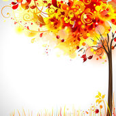 Autumn composition with bright tree — Vector de stock