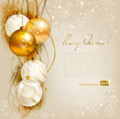 Elegant Christmas background with gold and white evening balls — Stock Vector