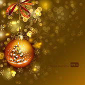 Bright Christmas background with gold evening ball — Stock Vector