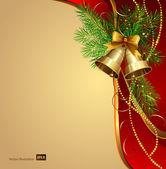 Festive bells with Christmas fir tree — Stock Vector