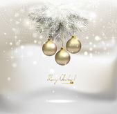 Light Christmas background with silver evening balls — Stock Vector
