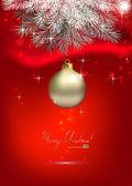 červené vánoční pozadí s jednou stříbrný ples — Stock vektor