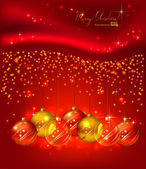 Red background with Christmas balls — Stock Vector