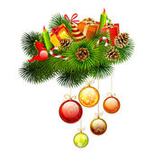 Ramas de navidad de abeto con velas y regalos, dulces en él — Vector de stock
